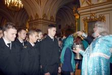 Служители Морского собора Святителя Николая Чудотворца  и Богоявления благословили курсантов СПбМРК